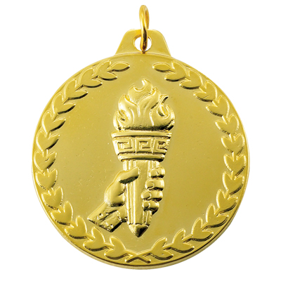1-1/2 Inch Wreath Border Torch in Hand Medal