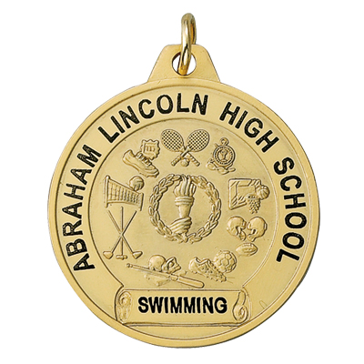 1-1/2 Inch Gold Multiple Sports Events Medal-Imprintable