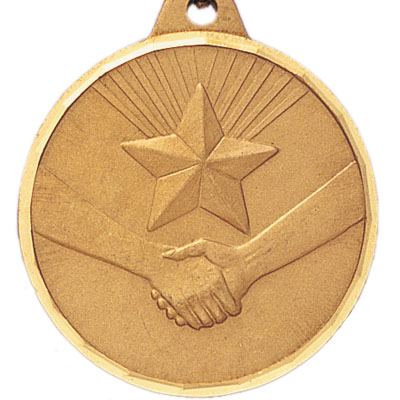 1-1/2 Inch Diamond Cut Border Handshake with Star Medal