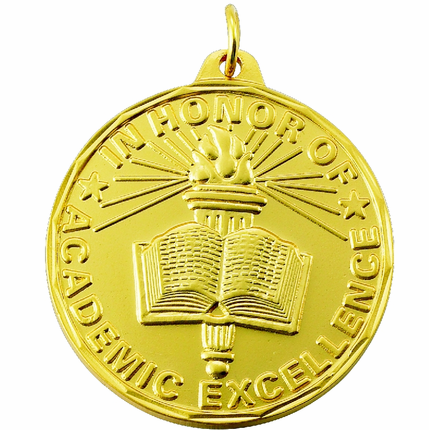 """1-1/2 Inch Scalloped Border """"In Honor of Academic Excellence"""" with Torch and Book Medal"""