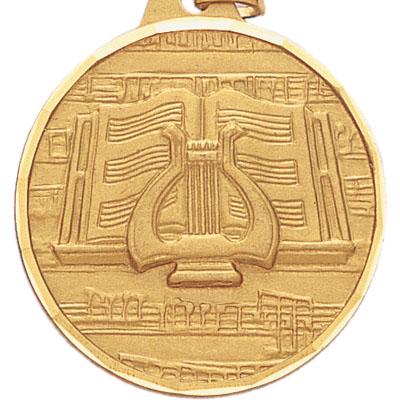1-1/2 Inch Diamond Cut Border Music Lyre and Music Page Medal