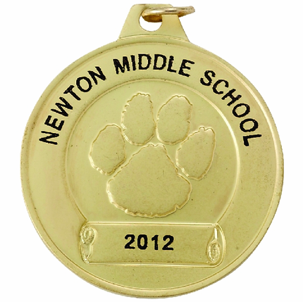 1-1/2 Inch Gold Paw Medal-Imprintable