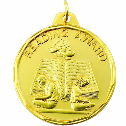 "1-1/2 Inch Scalloped Border ""Reading Award"" with Boy and Girl Medal"
