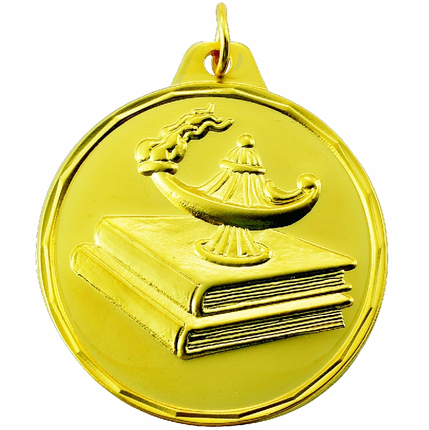 1-1/2 Inch Scalloped Border Lamp of Learning on Books Medal
