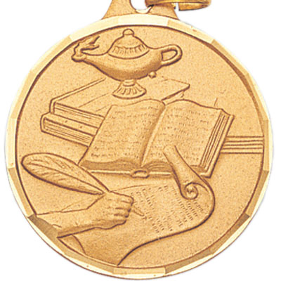 1-1/2 Inch Diamond Cut Border Lamp of Learning Medal
