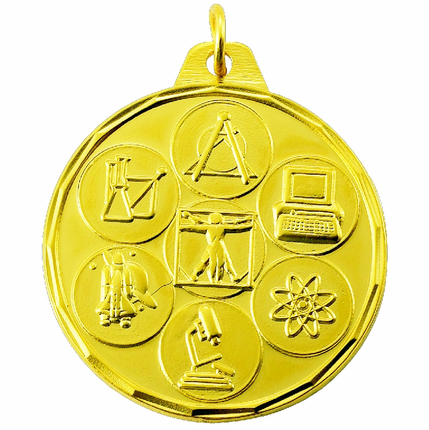 1-1/2 Inch Scalloped Border Science Fair Medal