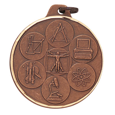 1-1/2 Inch Diamond Cut Border Bronze Multiple Science Disciplines Medal