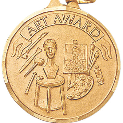 """1-1/4 Inch Diamond Cut Border """"Art Award"""" with Canvas and Tensils Medal"""