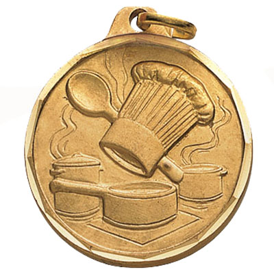 1-1/4 Inch Diamond Cut Border Culinary Achiement with Chef Hat and Cookingware Medal