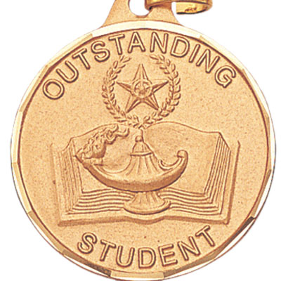 "1-1/4 Inch Diamond Cut Border ""Outstanding Student"" Medal"