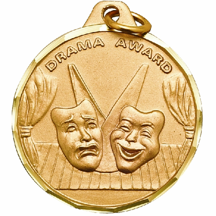 "1-1/4 Inch Diamond Cut Border ""Drama Award"" with Drama Masks Medal"