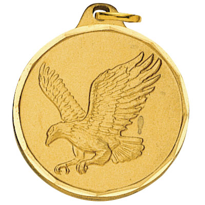 1-1/4 Inch Diamond Cut Border Flying Eagle Medal