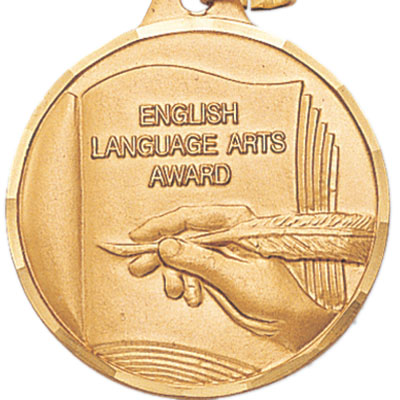 "1-1/4 Inch Diamond Cut Border ""English Language Arts Award"" with Feather Pen and Book Medal"