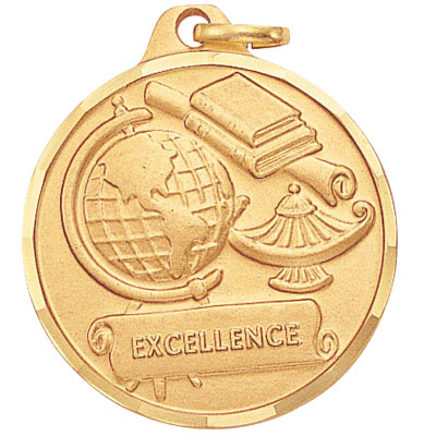 "1-1/4 Inch Diamond Cut Border ""Excellence"" with Lamp, Globe, and Scroll Medal"
