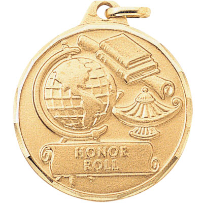 "1-1/4 Inch Diamond Cut Border ""Honor Roll"" with Lamp, Globe, and Scroll Medal"