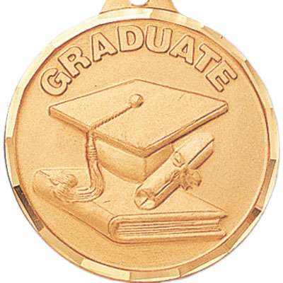 """1-1/4 Inch Diamond Cut Border """"Graduate"""" with Cap and Scroll Medal"""