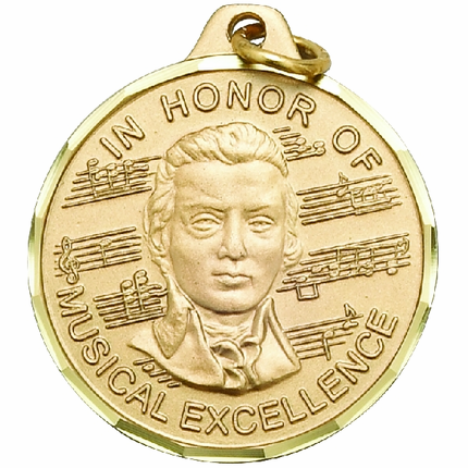 "1-1/4 Inch Diamond Cut Border ""In Honor of Musical Excellence"" with Mozart Medal"