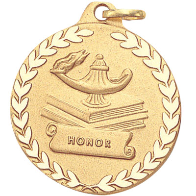 "1-1/4 Inch Diamond Cut Border and Stamped ""Honor"" with Lamp, Books, and Wreath Medal"