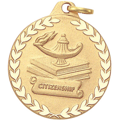 """1-1/4 Inch Lamp of Learning """"Citizenship"""" Medal"""