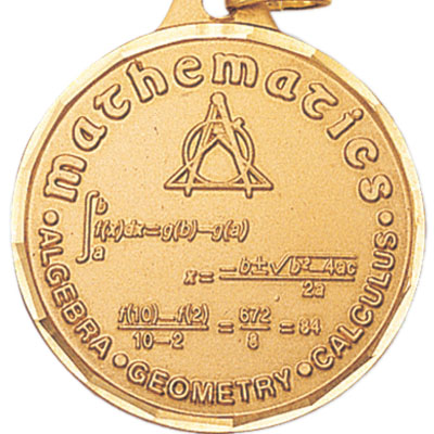 1-1/4 Inch Diamond Cut Border Mathematics Medal