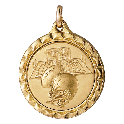 1-1/4 Inch Medal Frame with 1 Inch Football, Helmet, and Field Medallion Insert Disc