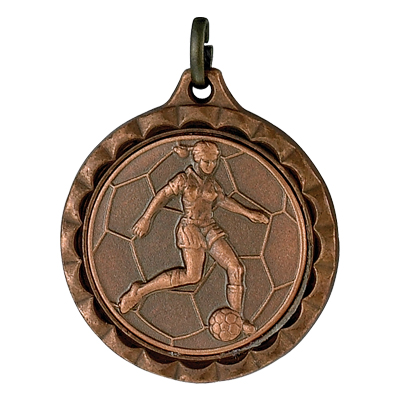 1-1/4 Inch Medal Frame with 1 Inch Female Soccer Player Medallion Insert Disc