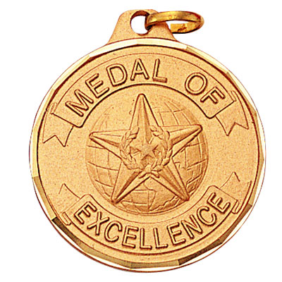 """1-1/4 Inch Diamond Cut Border """"Medal of Excellence"""" with Globe and Star Medal"""