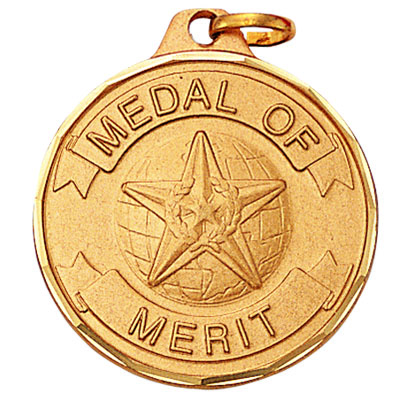 """1-1/4 Inch Diamond Cut Border """"Medal of Merrit"""" with Globe and Star Medal"""