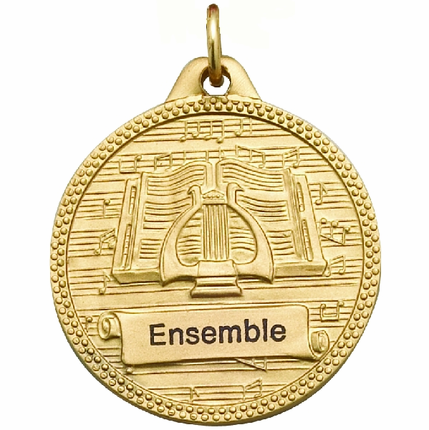 1-1/4 Inch Diamond Cut Border Music Lyre and Book Medal-Imprintable