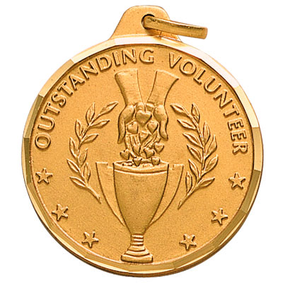 "1-1/4 Inch Diamond Cut Border ""Outstanding Volunteer"" with Hand Outreaching with Trophy Medal"