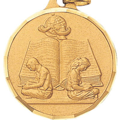 1-1/4 Inch Diamond Cut Border Boy and Girl Reading Medal