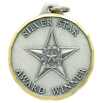 "1-1/4 Inch Diamond Cut Border ""Silver Star Award Winner"" with Star Medal"