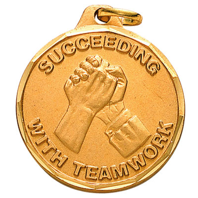 "1-1/4 Inch Diamond Cut Border ""Succeeding with Teamwork"" Handshake Medal"