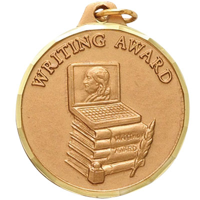 "1-1/4 Inch Diamond Cut Border ""Writing Award"" with Books, Computer, and Feather Pen Medal"