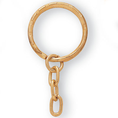 1-1/8 Gold Split Key Ring with Chain