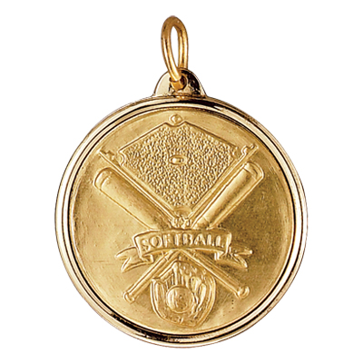 1-1/8 Inch Medal Frame with 1 Inch Softball, Bats, and Glove Medallion Insert Disc