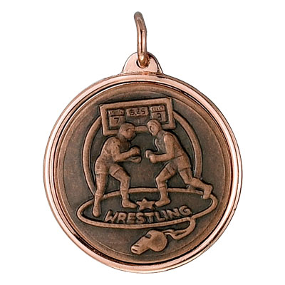 1-1/8 Inch Medal Frame with 1 Inch Wrestling Match Medallion Insert Disc