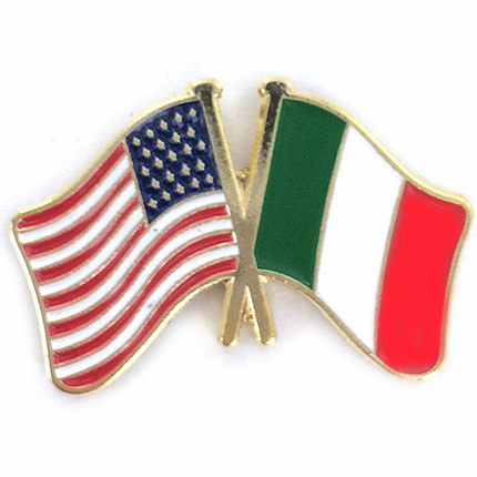 7/8 Inch American and Italian Crossed Flags Lapel Pin