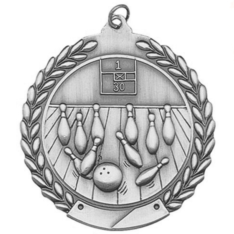 1-3/4 Inch Bowling Die Cast Medal in Antique Gold, Silver or Bronze Finish