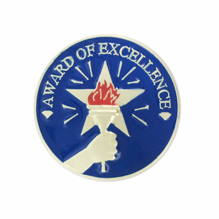 1 Inch Award of Excellence with Star, Hand, and Torch Enameled Lapel Pin