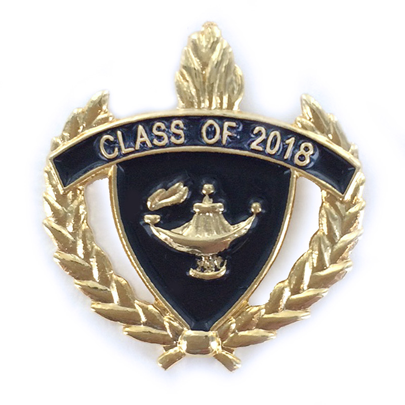1 Inch Gold Class of 2018 Enameled Lapel Pin