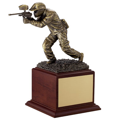10-1/2 Inch Gold Paintball Figure Player Trophy