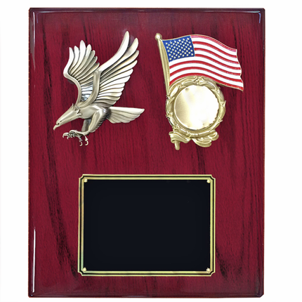 10-1/2 x 13 Inch Cherry Piano Finish Plaque with Eagle and American Flag Military Insert