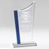 10-3/4 Clear and Blue Swoop Top Acrylic Award