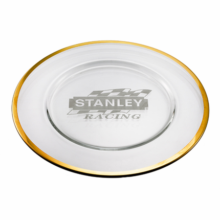 12-1/2 Inch Glass Charger Plate with Gold Leaf Band