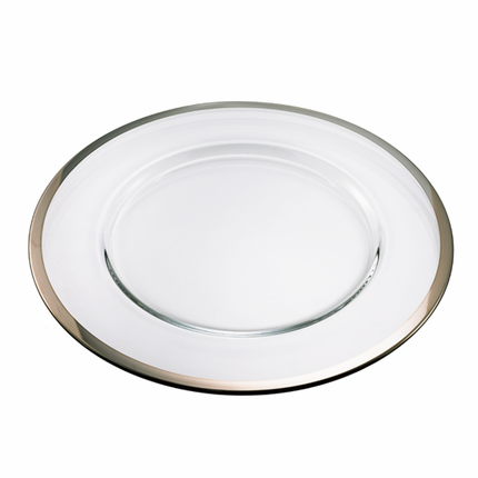 12-1/2  Inch Glass Charger Plate with Platinum Band