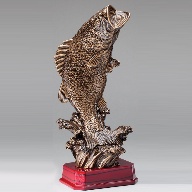 12 Inch Antique Brass Resin Bass Fish Trophy on Rosewood Finished Base