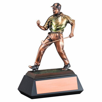 12 Inch Electroplated Bronze in Color Male Golf Trophy