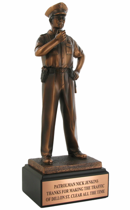 12 Inch Bronze Electroplated Policeman Figure Trophy