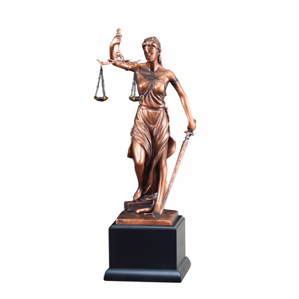 13-1/2 Inch Electroplated Antique Bronze Finish Lady of Justice Trophy on Black Base